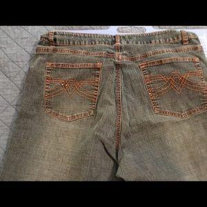 orange embellished sequins jeans zigzag bottom